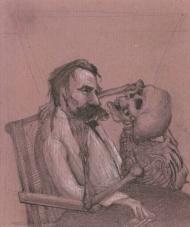 """Dieter M. Weidenbach: """"Gespräch"""" Aus """"Nietzsche- ein Totentanz"""", Gaphit auf rosa Zeichenpapier."""