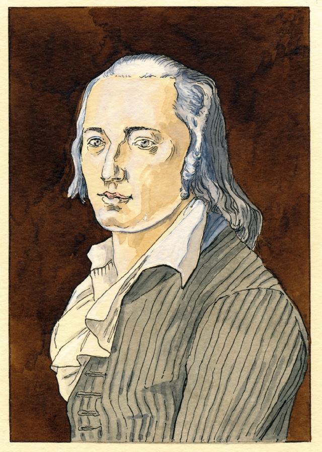 Dieter Groß: Friedrich Hölderlin · 1792/2020 · Nach Pastell von Franz Karl Hiemer.