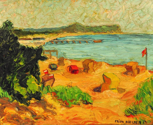 """Frida Nielsen: """"Am Strand von Hiddensee"""" 1929. Ölfarben/Malpappe. 46,8 x 57,8 cm."""